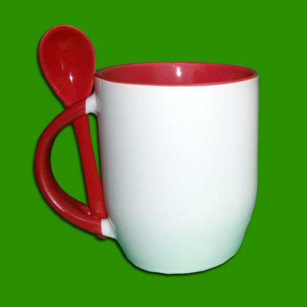 Rdeča dvobarvna skodelica z žličko