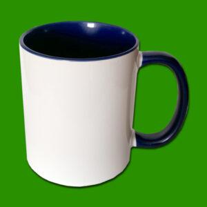 Temno modri dvobarvni foto lonček - print mug