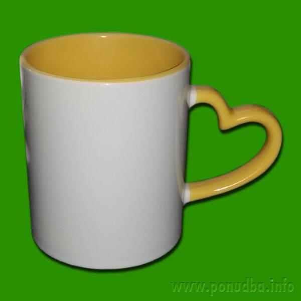 Rumena dvobarvna skodelica za zaljubljene